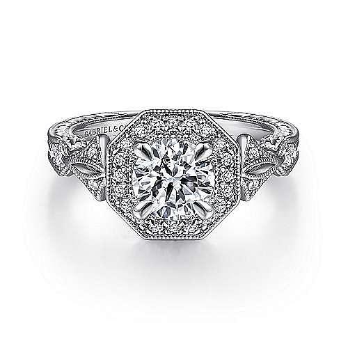 Gabriel - Aramis 14k White Gold Round Halo Engagement Ring
