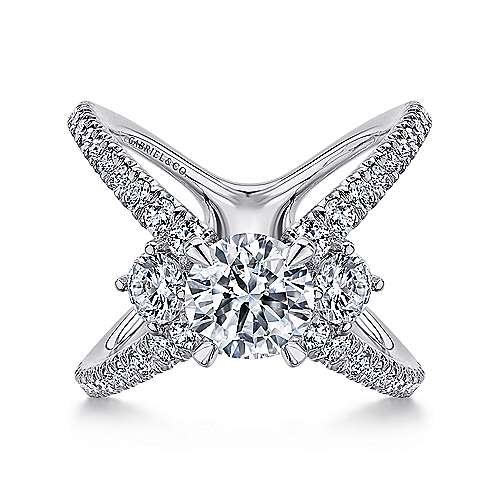 Gabriel - Aria 14k White Gold Round 3 Stones Engagement Ring