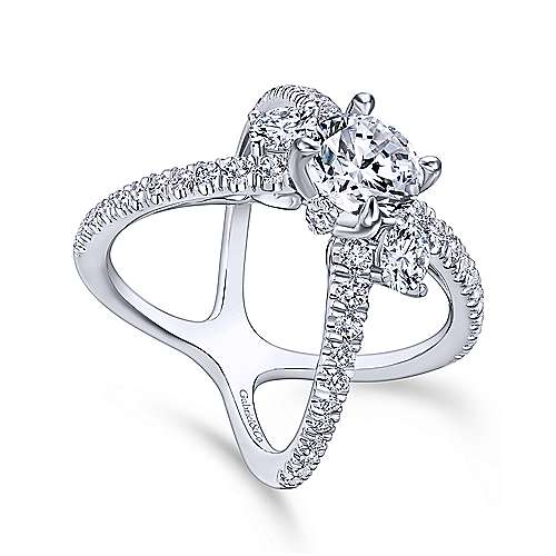 Aria 14k White Gold Round 3 Stones Engagement Ring angle 3