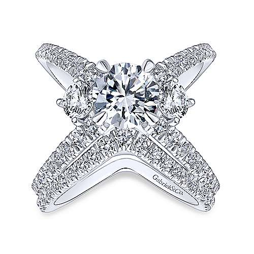 Aria 14k White Gold Round 3 Stones Engagement Ring angle 4