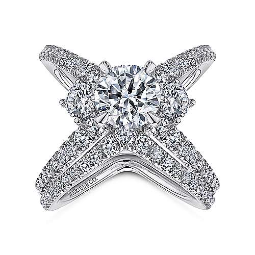 Aria 18k White Gold Round 3 Stones Engagement Ring angle 4