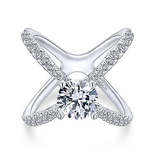 Aria 18k White Gold Round Split Shank Engagement Ring angle 1