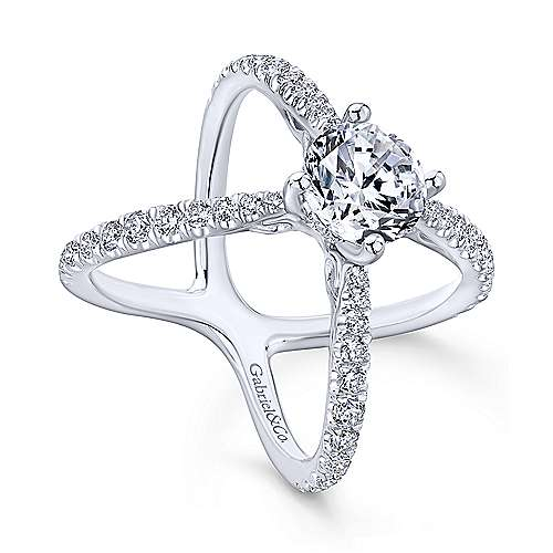 Aria 18k White Gold Round Split Shank Engagement Ring angle 3