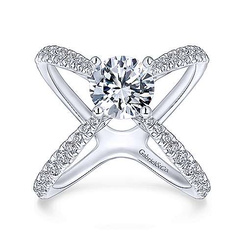 Aria 18k White Gold Round Split Shank Engagement Ring angle 5