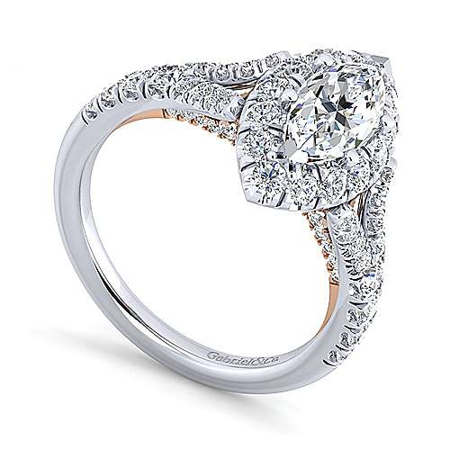 Ariana 14k White And Rose Gold Marquise  Halo Engagement Ring angle 3