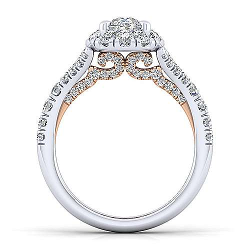 Ariana 14k White And Rose Gold Oval Halo Engagement Ring angle 2