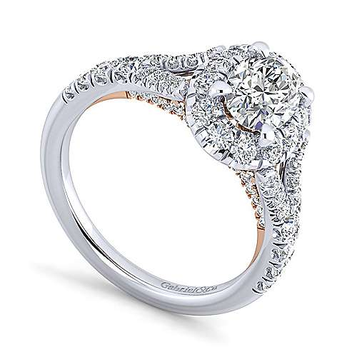 Ariana 14k White And Rose Gold Oval Halo Engagement Ring angle 3