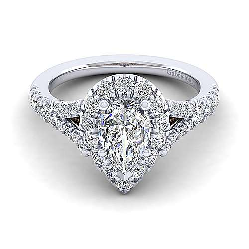 Gabriel - Ariana 14k White And Rose Gold Pear Shape Halo Engagement Ring