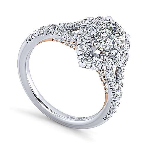 Ariana 14k White And Rose Gold Pear Shape Halo Engagement Ring angle 3
