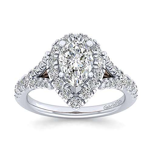 Ariana 14k White And Rose Gold Pear Shape Halo Engagement Ring angle 5