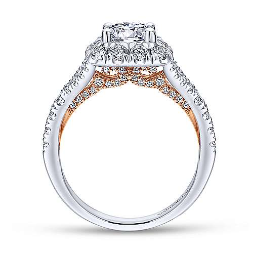 Ariana 14k White And Rose Gold Round Halo Engagement Ring angle 2