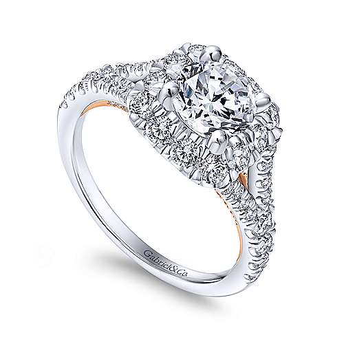 Ariana 14k White And Rose Gold Round Halo Engagement Ring angle 3