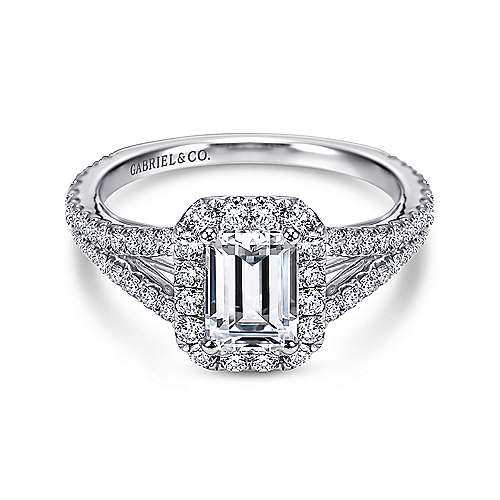 Gabriel - Ariane 18k White Gold Emerald Cut Halo Engagement Ring