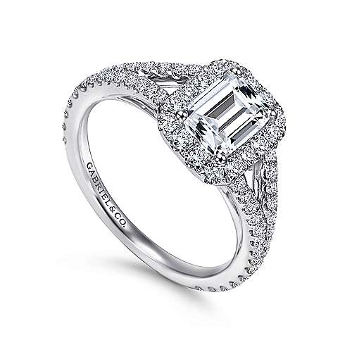 Ariane 18k White Gold Emerald Cut Halo Engagement Ring angle 3