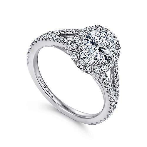 Ariane 18k White Gold Oval Halo Engagement Ring angle 3