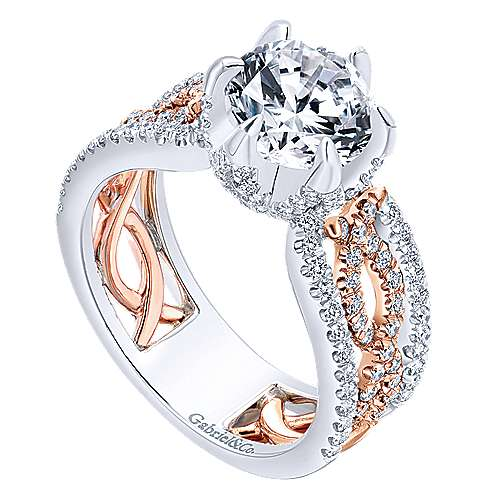 Ariel 18k White And Rose Gold Round Twisted Engagement Ring angle 3