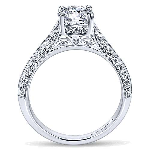 Arlo 14k White Gold Round Split Shank Engagement Ring angle 2