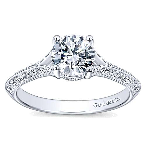 Arlo 14k White Gold Round Split Shank Engagement Ring angle 5