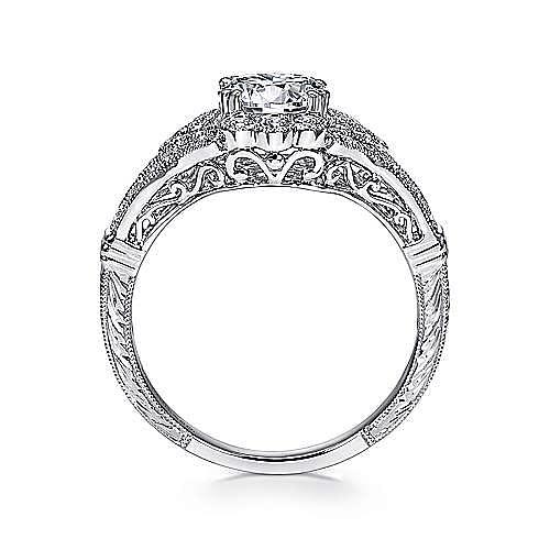 Armada Platinum Round Halo Engagement Ring angle 2