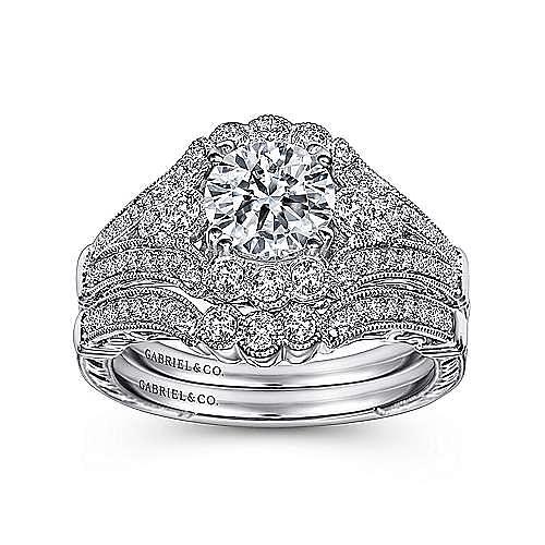Armada Platinum Round Halo Engagement Ring angle 4