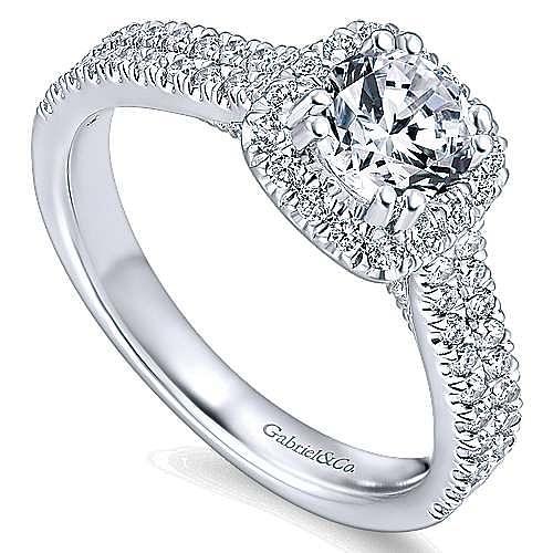 Armina 14k White Gold Cushion Cut Halo Engagement Ring angle 3