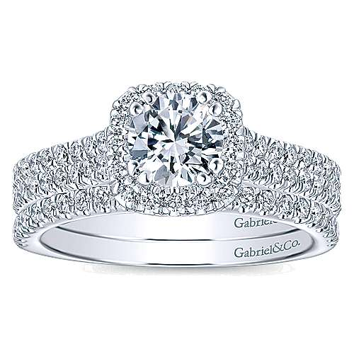 Armina 14k White Gold Cushion Cut Halo Engagement Ring angle 4