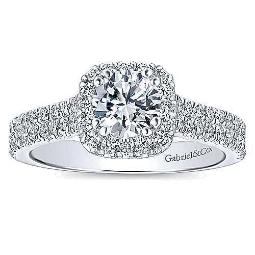Armina 14k White Gold Cushion Cut Halo Engagement Ring angle 5