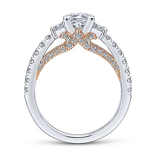 Arnica 14k White And Rose Gold Princess Cut 3 Stones Engagement Ring angle 2