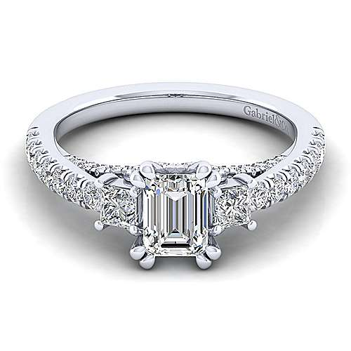 Gabriel - Arnica 14k White Gold Emerald Cut 3 Stones Engagement Ring