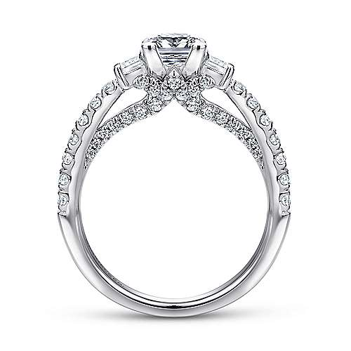 Arnica 14k White Gold Princess Cut 3 Stones Engagement Ring angle 2