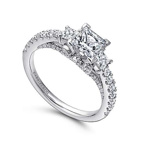 Arnica 14k White Gold Princess Cut 3 Stones Engagement Ring angle 3