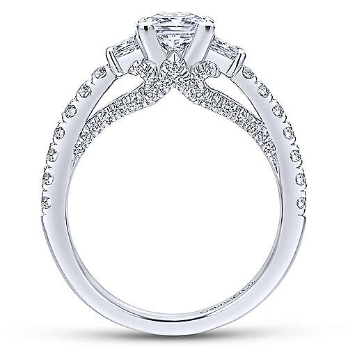 Arnica 18k White Gold Princess Cut 3 Stones Engagement Ring angle 2