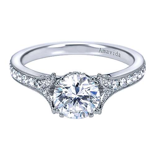 Aroma 18k White Gold Round Straight Engagement Ring angle 1