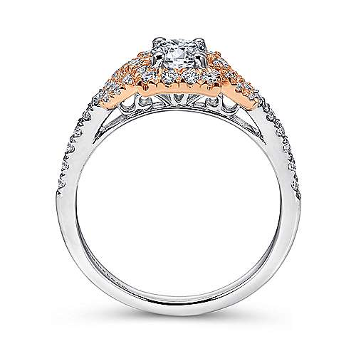 Art 14k White And Rose Gold Round Halo Engagement Ring angle 2