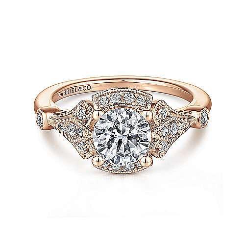 Art Deco 14K Rose Gold Fancy Halo Round Diamond Engagement Ring