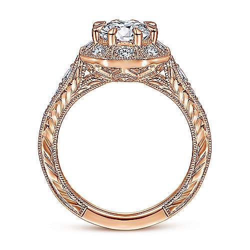 Art Deco 14K Rose Gold Octagonal Halo Diamond Engagement Ring