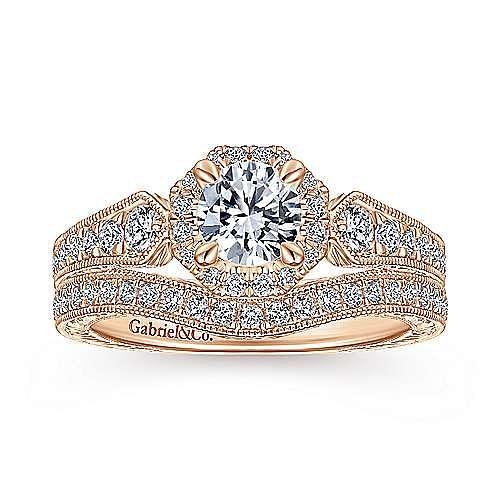 Art Deco 14K Rose Gold Octagonal Halo Round Complete Diamond Engagement Ring