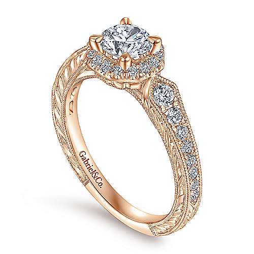 Art Deco 14K Rose Gold Octagonal Halo Round Diamond Engagement Ring