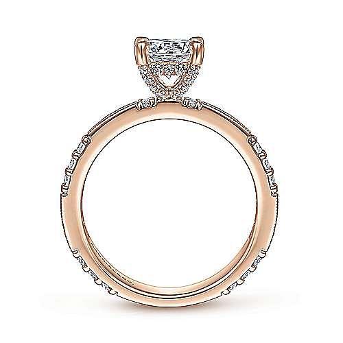 Art Deco 14K Rose Gold Round Diamond Engagement Ring