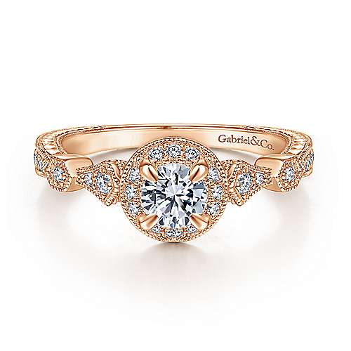 Art Deco 14K Rose Gold Round Halo Complete Diamond Engagement Ring
