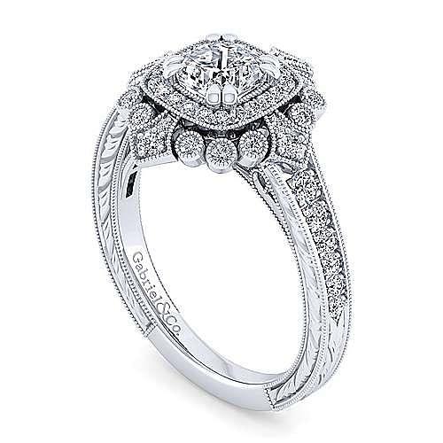 Art Deco 14K White Gold Cushion Double Halo Diamond Engagement Ring