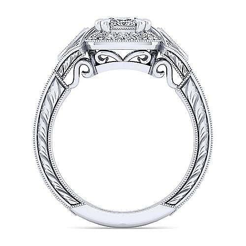 Art Deco 14K White Gold Cushion Halo Diamond Engagement Ring