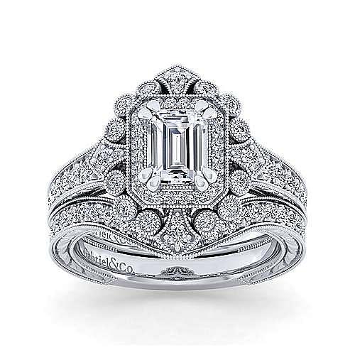Art Deco 14K White Gold Double Halo Emerald Cut Diamond Engagement Ring