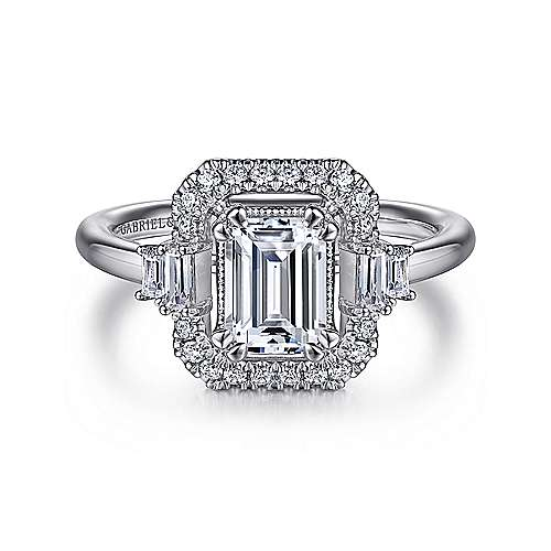 Art Deco 14K White Gold Emerald Cut Halo Diamond Engagement Ring