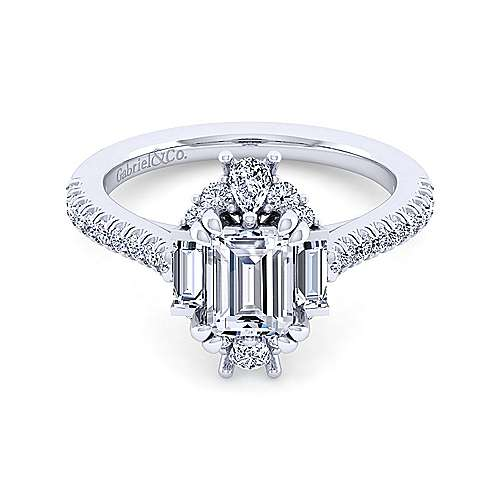 Art Deco 14K White Gold Emerald Halo Diamond Engagement Ring