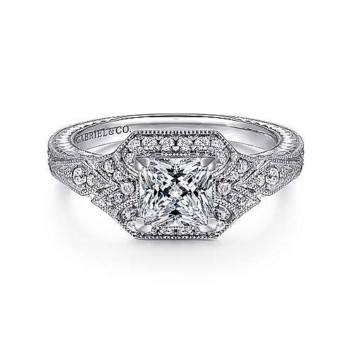 Art Deco 14K White Gold Fancy Halo Princess Cut Diamond Engagement Ring