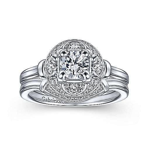 Art Deco 14K White Gold Fancy Halo Round Diamond  Engagement Ring