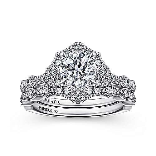 Art Deco 14K White Gold Fancy Halo Round Diamond Engagement Ring