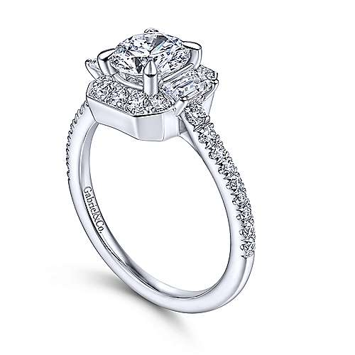 Art Deco 14K White Gold Fancy Halo Three Stone Round Diamond Engagement Ring