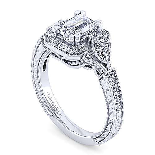 Art Deco 14K White Gold Halo Emerald Cut Diamond Engagement Ring